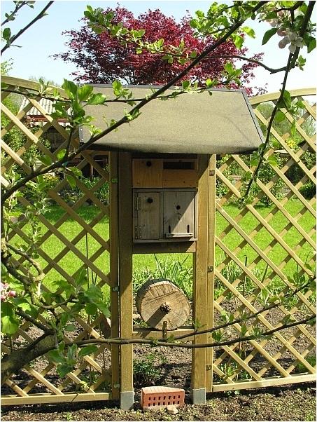 kleines Insektenhotel in einer Hamburger Kleingartenanlage